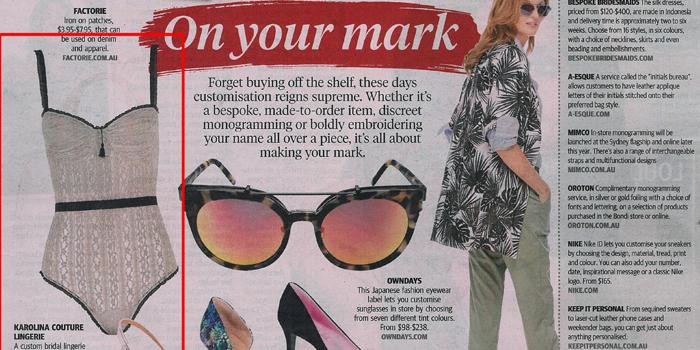 Karolina Couture Lingerie_Sunday Telegraph Newspaper_Bridal Lingerie_BleachPR